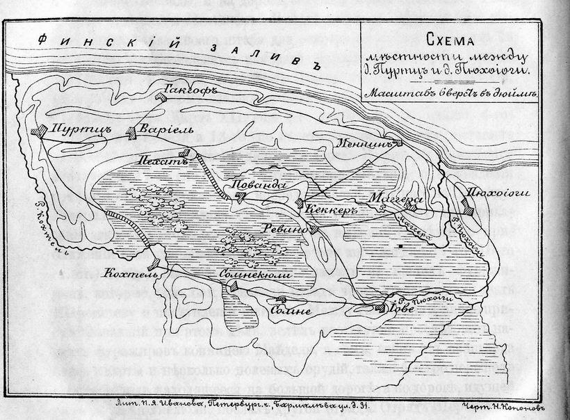 Схема местности между д.
